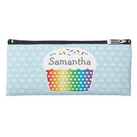 rainbow cupcake personalised kids pencil case