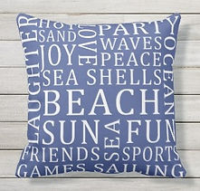summer beach typography outdoor cushion