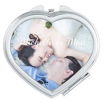 personalised couples photo heart shaped compact mirror