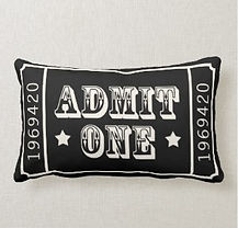 theatre ticket admit one quirky cushion