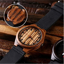 Engraved bamboo mens watch