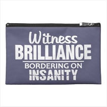 funny insanity quote travel accessory bag