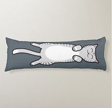 cute cat belly rub body pillow