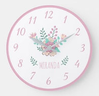 Pretty Floral Personalised Girl's Wall Clock
