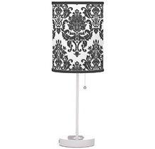 elegant black and white damask pattern table lamp