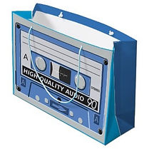 retro blue cassette large gift bag