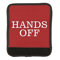 funny hands off warning red luggage handle wrap