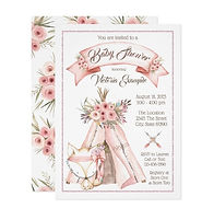 pink tribal fox girl baby shower invitation