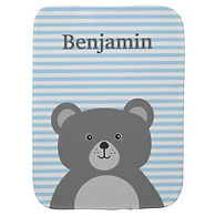 bear and stripes personalised baby burp cloth