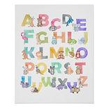 illustrated animal alphabet nursery poster