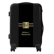elegant black and gol personalised carry on luggage