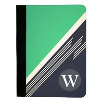 stylish green and navy retro stripes monogram padfolio