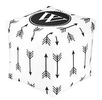 Monogrammed Black and White Tribal Arrow Cube Pouf