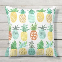 pastel colored pineapple pattern outdoor cushion