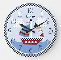 Sailboat Nautical Kids Room Wall Clock