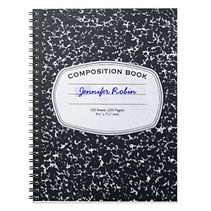 retro composition style personalised notebook