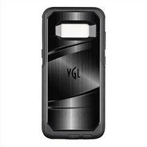 stylish black monogrammed samsung case