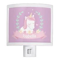 personalised unicorn purple girls night light