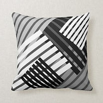black and white kriss kross pattern cushion