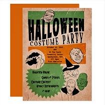 vintage horror movie poster halloween party invitation