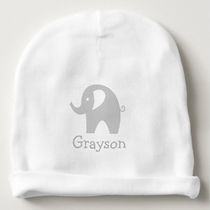 grey elephant personalised baby beanie