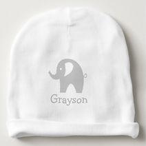 grey elephant personalised baby beanie