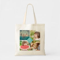 custom photo collage budget tote bag with teal monogram