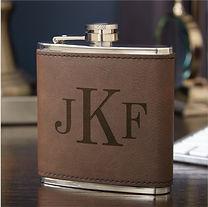 elegant artisan monogram hip flask