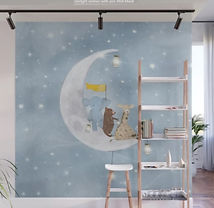 Animals on the Moon Nursery Wall Mural