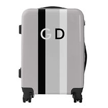 trendy grey stripes and monogram luggage for him