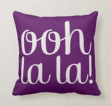 purple ooh la la modern typography cushion