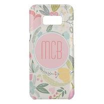 preppy pastel floral big monogram samsung case