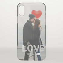 custom photo iphone case with love overlayed