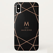 elegant faux rose gold geometric personalised iphone case