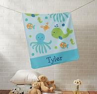 Sea Creatures Personalised Baby Blanket