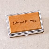 maple wood engraved business card holder