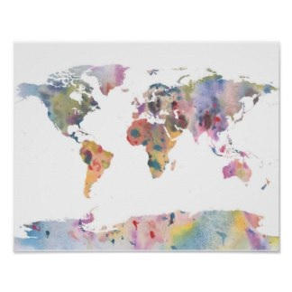 Watercolor Map Poster $10.35