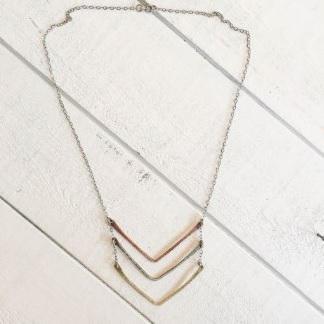 Tri Chevron Necklace $63