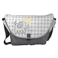 baby elephant and plaid messenger bag