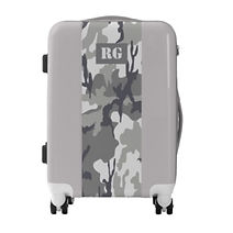 trendy grey camouflage monogrammed luggage