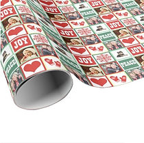 custom photo collage christmas wrapping paper