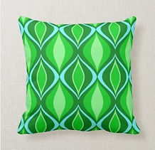 retro green patterned cushion