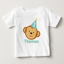 monkey face birthday boy baby shirt