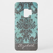 elegant blue grey damask personalised samsung case