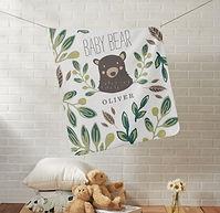 Baby Bear Woodland Art Personalised Baby Blanket