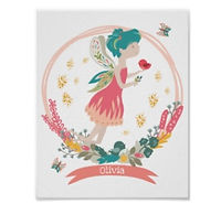 Pretty Flower Fairy Personalised Girl's Room Poster