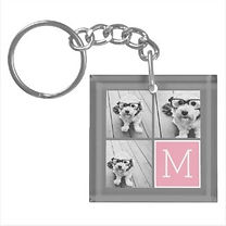 squre acrylic photo collage keychain