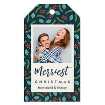 modern custom photo christmas gift tag