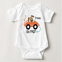 dog in toy car baby bodysuit