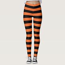 orange and black striped halloween leggings